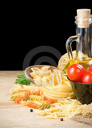 Pasta and food ingredient on black