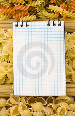 Pasta and food ingredient with cookbook