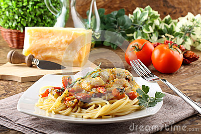 Pasta with fresh grouper fillet