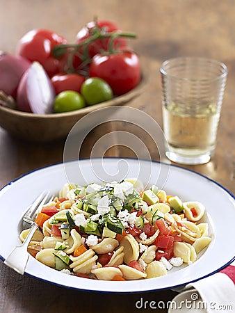 Pasta with gazpacho sauce