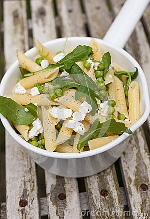 Pasta with goatcheese and rocket