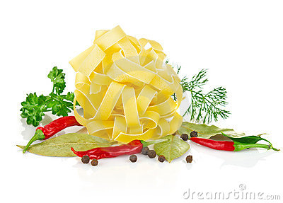 Pasta with greenery and spice