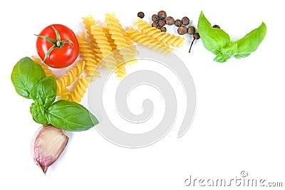Pasta ingredients border