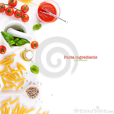 Free Pasta Ingredients - Tomatoes, Olive Oil, Garlic, Italian Herbs, Fresh Basil And Spaghetti On A White Board Background Stock Images - 69391074