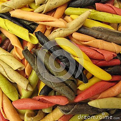 Pasta Italian gargollini with vegetables and spice