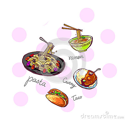 food icons illustration hand drawn