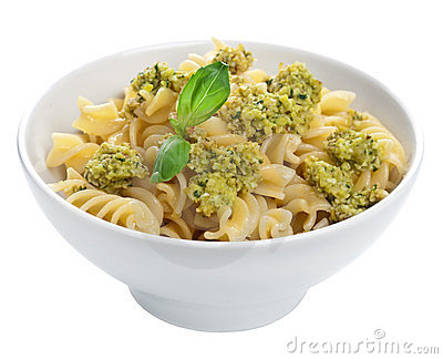Pasta with olive tapenade isolated