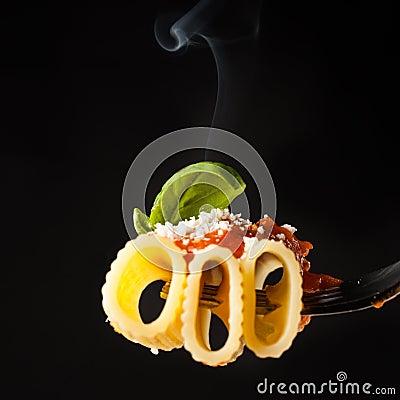 Pasta Rigatoni on fork