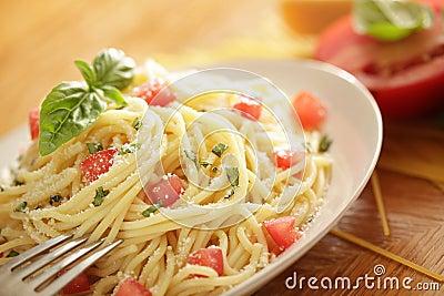 Pasta shot with ingredients