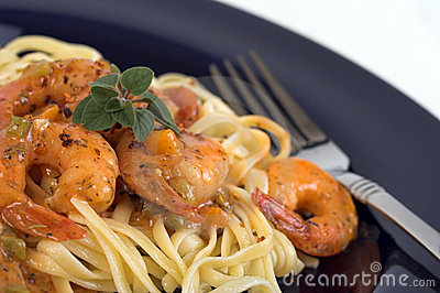 Pasta And Shrimp Dinner Royalty Free Stock Image - Image: 443906
