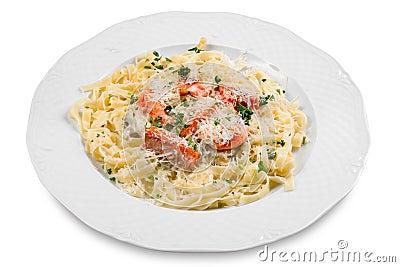 Pasta with slice of salmon fish