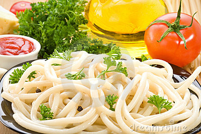 Pasta spaghetti and food ingredient
