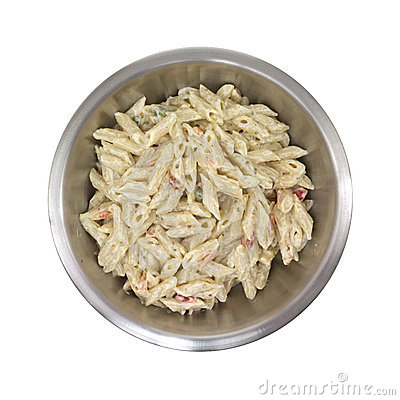 Pasta in stainless steel bowl
