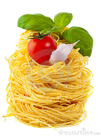Pasta, tomato, basil, garlic - italian cooking
