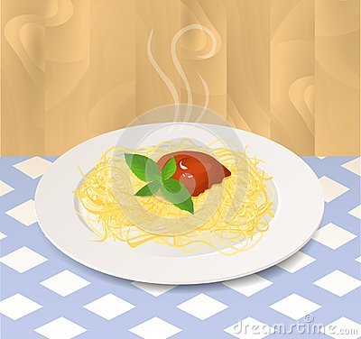 Pasta with Tomato Sauce and Basil on a Plate