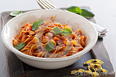 Pasta With Tomato Sauce And Chickpeas Stock Photo - Image: 51493380