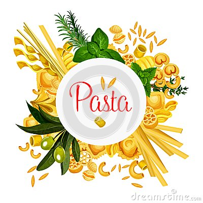 Free Pasta Vector Italian Macaroni Poster Stock Images - 117096194