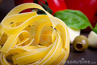 Pasta with vegetables for cooking
