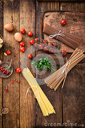 Free Pasta With Ingredients Stock Image - 48794921