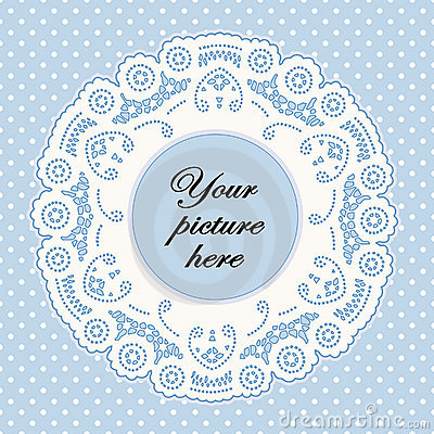 Pastel Blue Lace Doily Frame, Polka Dot Background