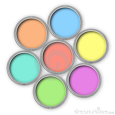 Pastel color paint buckets