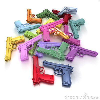 Pastel colored guns