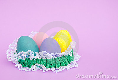 Pastel colored hand painted Easter egg shells