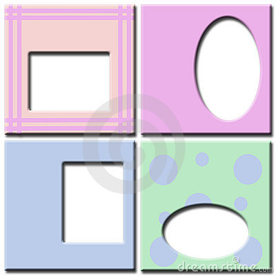 Pastel colored photo frames