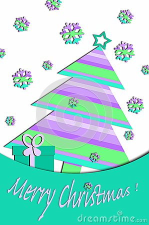 Pastel colors card design with christmas tree