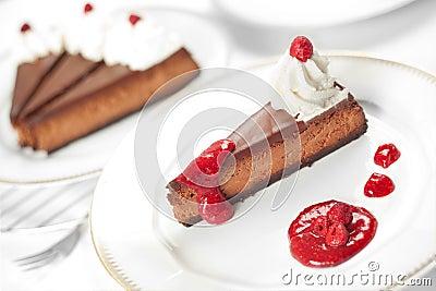 Pastel de queso de la frambuesa del chocolate