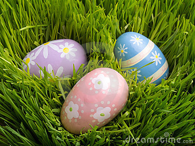 Pastel Easter Eggs in Fresh spring Grass