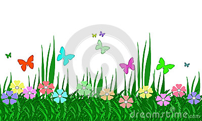 Pastel Flower Garden, Grass, and Butterflies