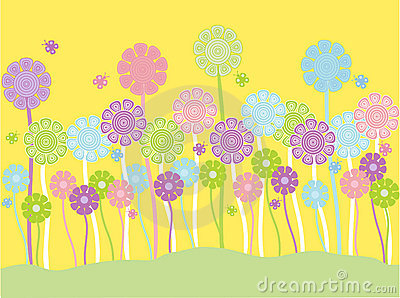Pastel flowers and butterflies