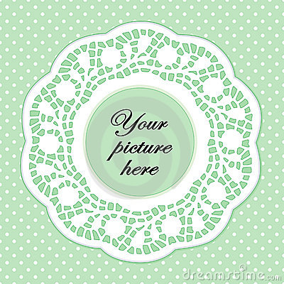 Pastel Green Lace Frame, Polka Dot Background
