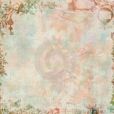 Free Pastel Grungy Vintage Floral Scrapbook Frame Stock Photo - 20045500