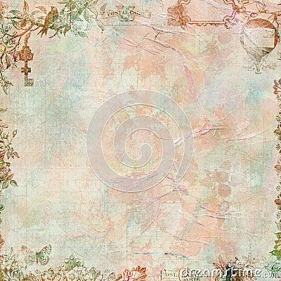 Pastel Grungy Vintage floral scrapbook frame