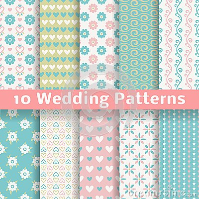 Free Pastel Loving Wedding Vector Seamless Patterns Royalty Free Stock Image - 34952746