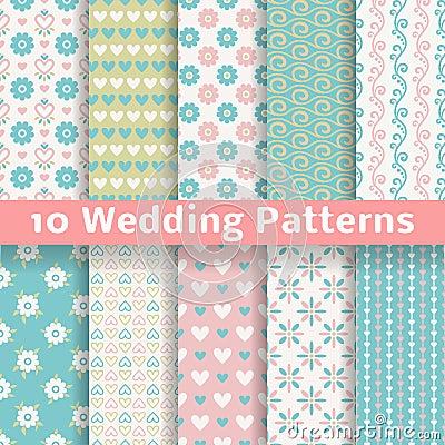 Pastel loving wedding vector seamless patterns