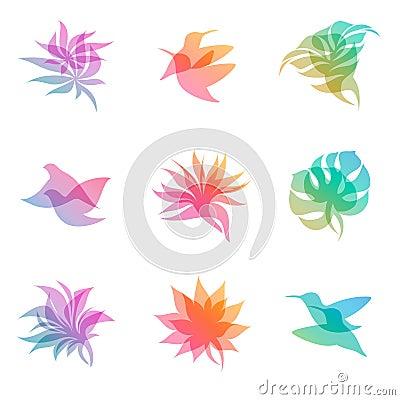Pastel nature. Elements for design.