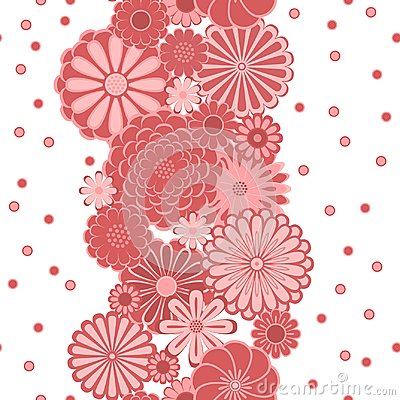 Free Pastel Pink Circle Daisy Flowers On White Seamless Border, Vector Stock Image - 108297111
