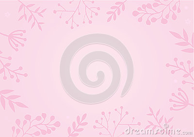 Pastel pink color background with flower border Vector Illustration
