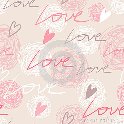 Free Pastel Pink Seamless Pattern With Love Words Stock Photography - 65479532
