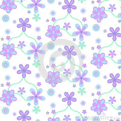 Pastel purple blue simple flower pattern