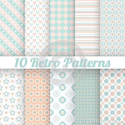 Free Pastel Retro Different Vector Seamless Patterns Royalty Free Stock Photos - 42095838