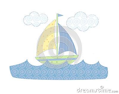 Pastel sailboat