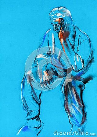 Pastel sketch of a man