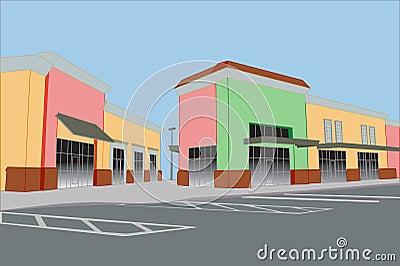 Pastel strip mall