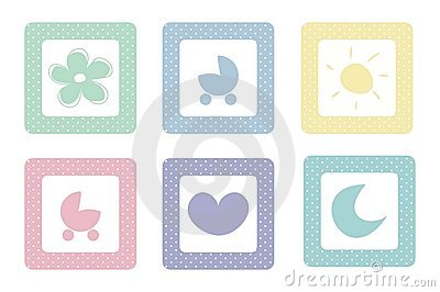 Pastel sweet baby vector icons with polka dots