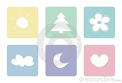 Pastel sweet icons: sun moon tree heart flower