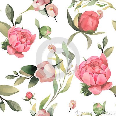 Free Pastel Watercolor Hand Drawn Paint Pink Flower Seamless Pattern. Stock Image - 89123691